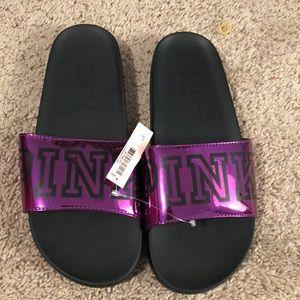 New Victoria Secret PINK Slides Metallic Purple L